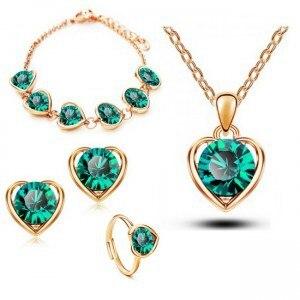 Наборы ювелирных изделий в форме сердца, в классическом стиле, для свадьбы, в розницу