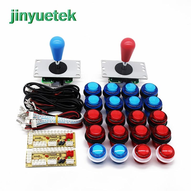 Kit bartop arcade juego Zero Delay botón consola gabinete diy pegatina moneda aceptador led gran oferta 2 Botón de jugador joystick