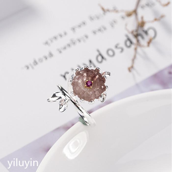 KJJEAXCMY boutique joyería S925 plata de ley Fresa Natural anillo de flor de ciruelo de cristal simple personalidad fresco y fácil o