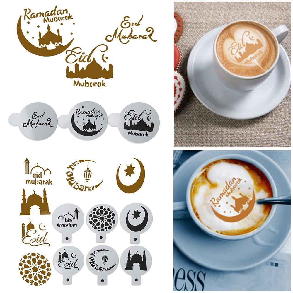 3/6Pcs Eid Mubarak Ramadan Coffee Printing Template Spray Stencil Set DIY Fondant Cake Biscuits Decoration Tools