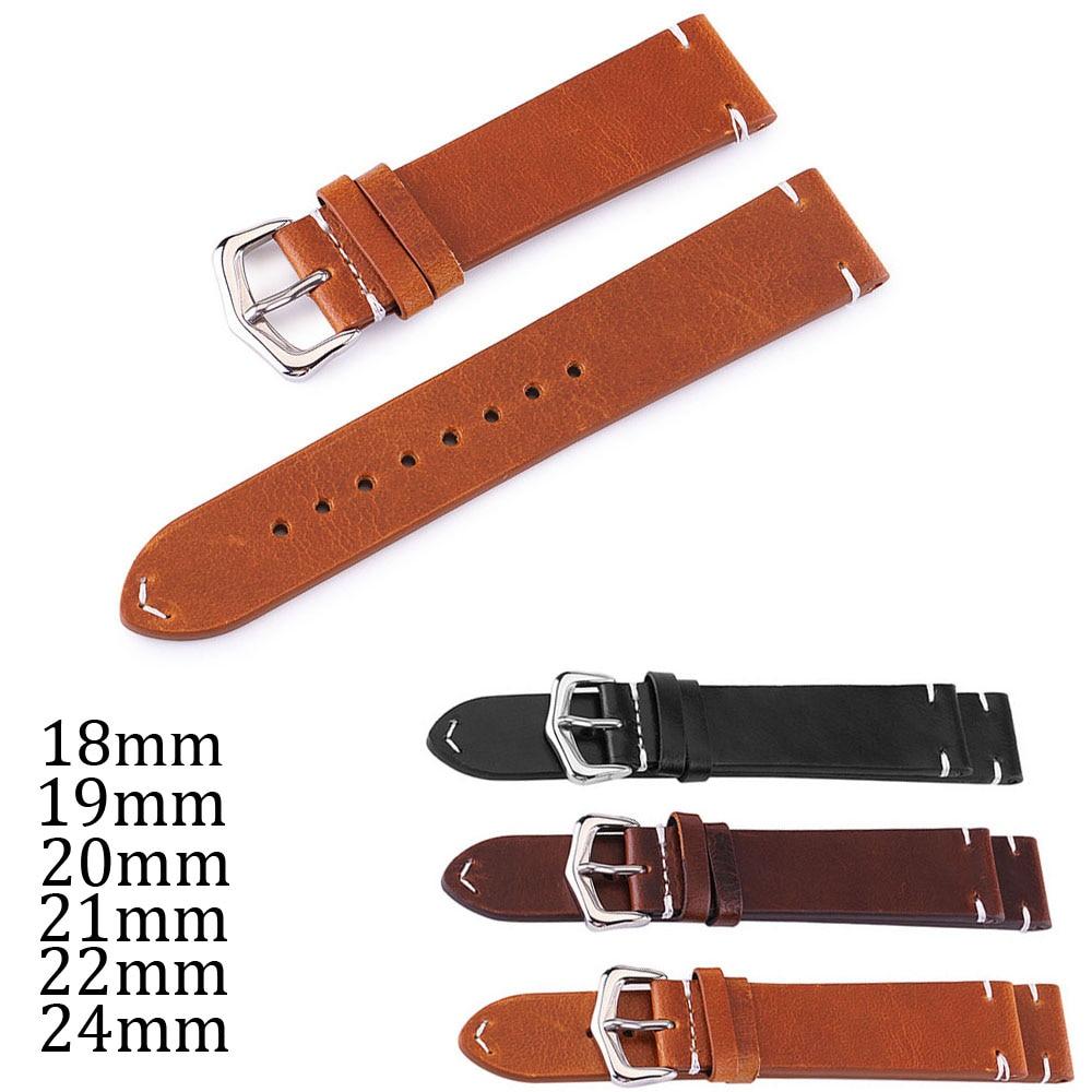 Universal reloj banda 18mm 19mm 20mm 21mm 22mm 24mm cuero de becerro suave correa de reloj de cuero genuino negro marrón cuero pulsera con pines