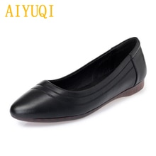 AIYUQI Genuine Leather Women Shoes 2021 Spring New Casual Women Flat Shoes Soft Bottom Mother Shoes