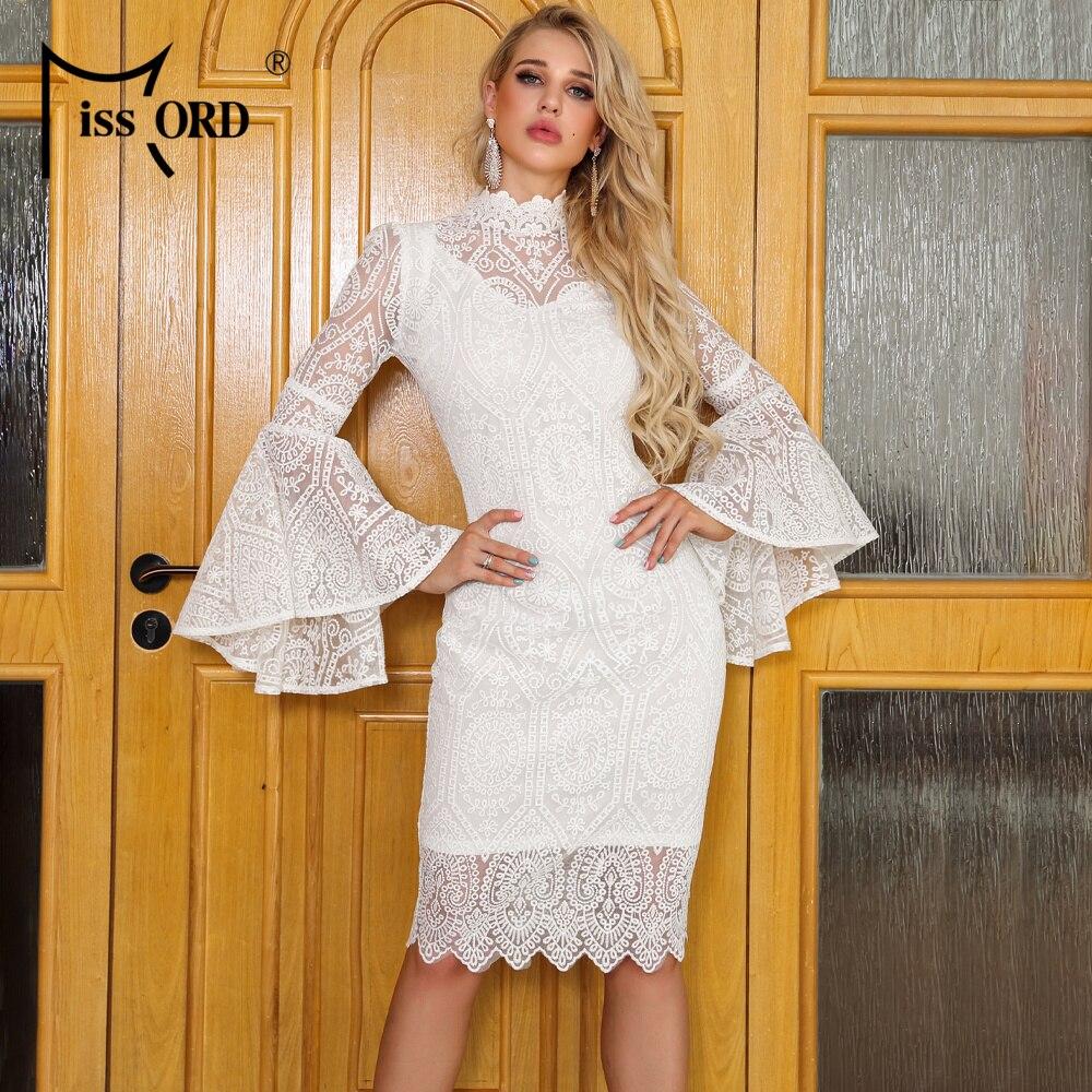 Missord 2020 mujeres Sexy alto cuello altavoz manga encaje Vestidos Mujer rodilla-longitud vestido elegante FT19531