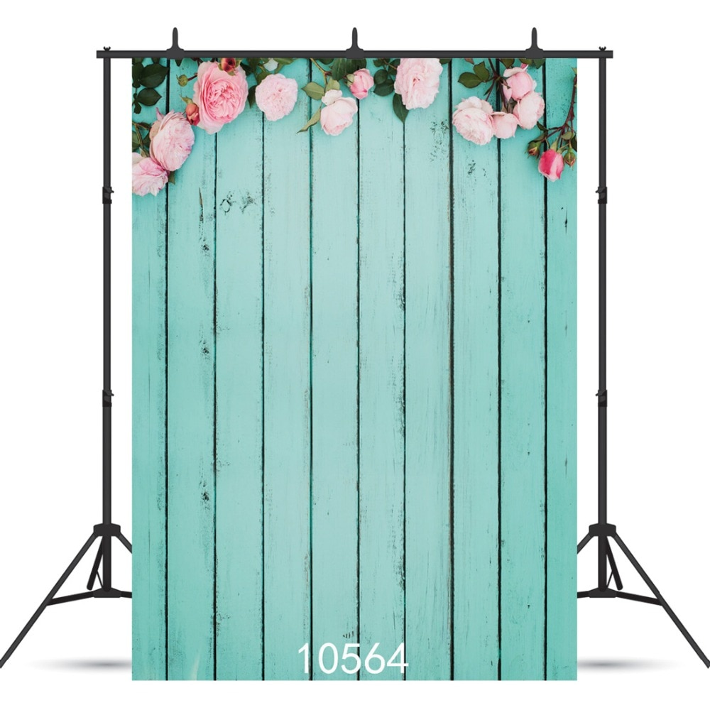 Blue Board Flowers Vinyl Photography Background For  Wedding Party Child Baby Shower New Born Backdrop Photocall Photo Studio