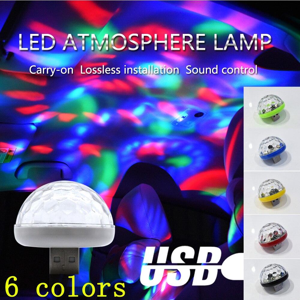 Dyoung LED COCHE luz de ambiente USB DJ RGB mini lámpara de sonido de música colorida USB-C teléfono móvil Mini hogar portátil atmósfera Luz