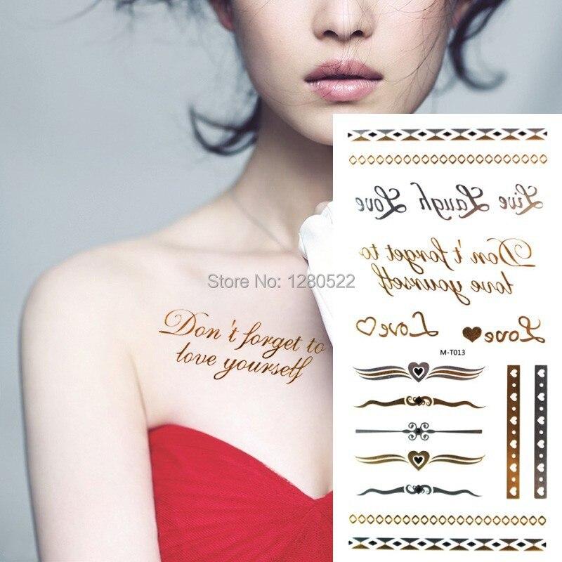 2 palabras de hoja Flash tatuaje amor letras plata oro metálico tatuaje anillo tatuaje pegatina cuerpo arte Mujer