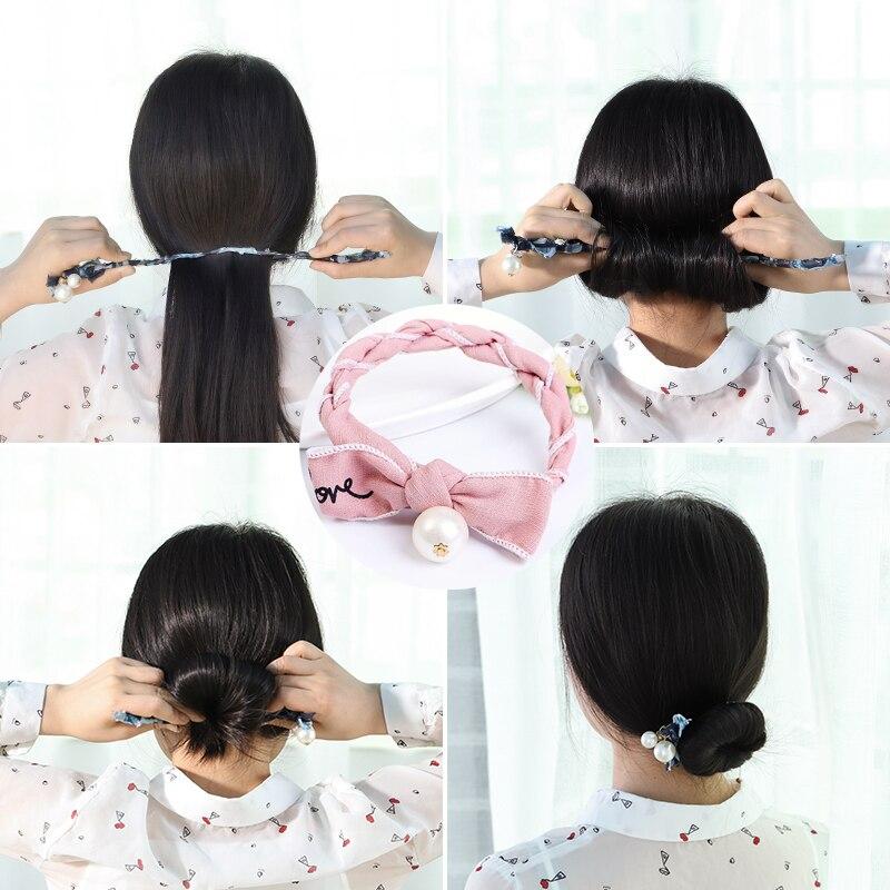 EASYA 2018 New Design Women French DIY Hairstyle Headband Tools Simulated Pearl Bowknot Twist Headband Magic Hair Bun Maker