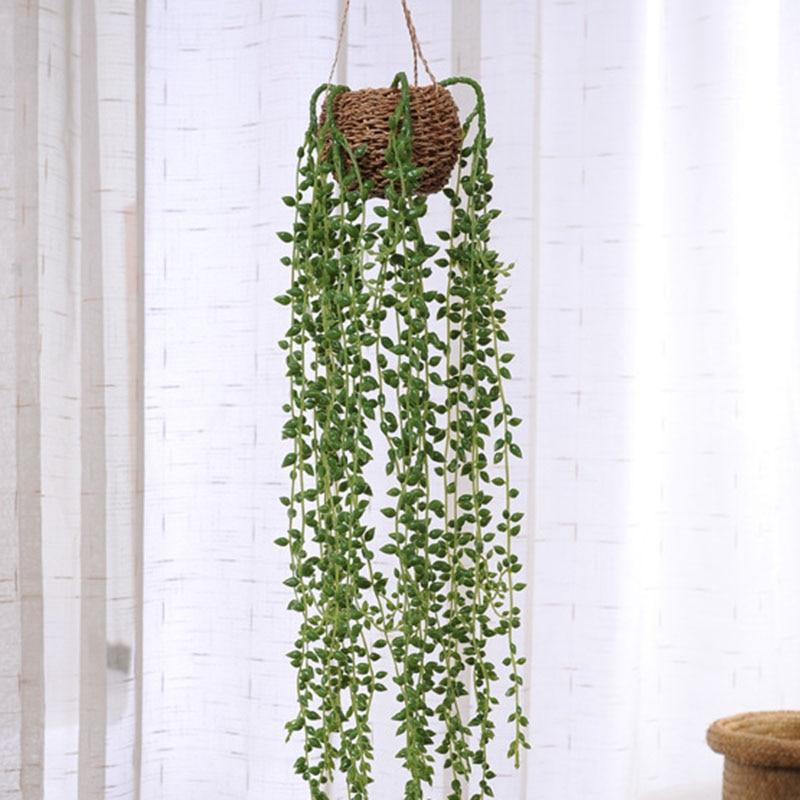 Decoración del hogar plantas verdes artificiales lágrimas de amantes suculentas colgando de la pared enredaderas de flores falsas decoración imitación de flores de boda