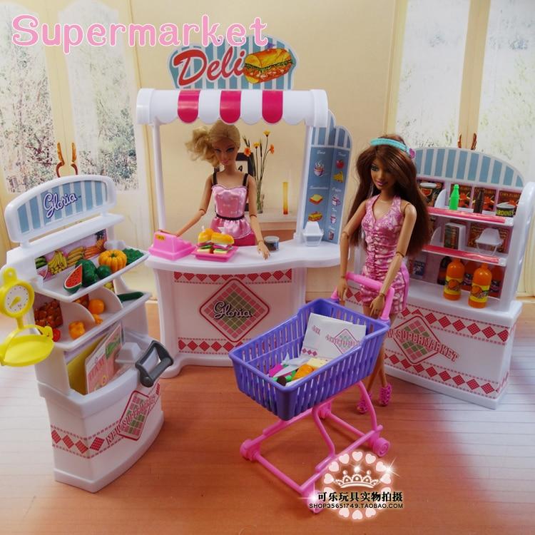 Puppe Möbel für barbie puppe Mädchen geburtstag geschenk kunststoff Spielen Set supermarkt Selbst-mall shop, mädchen diy spielzeug