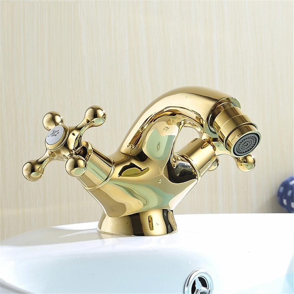 Импиу Европейский Золотой биде кран, буксировочные ручки ванной Bedit смеситель, кран горячей и холодной воды, твердая латунь, полированное зо...
