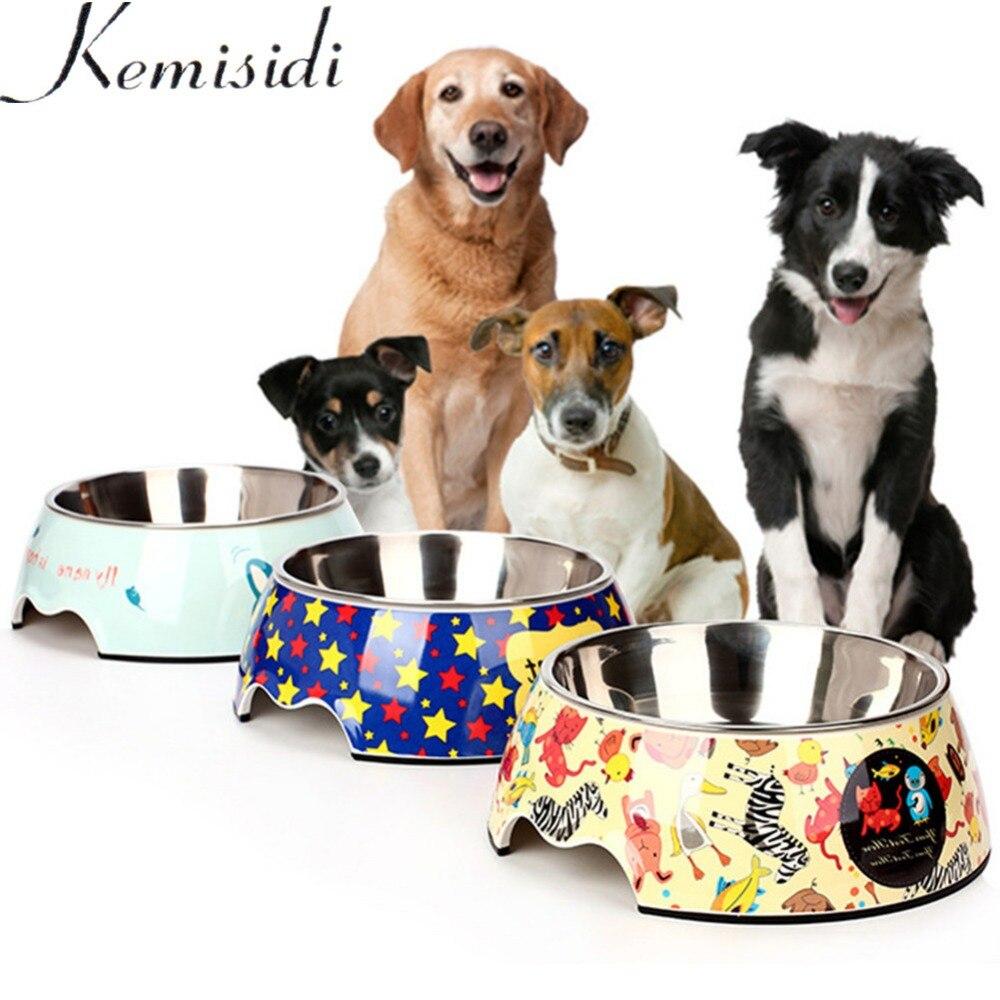 Cuenco de cerámica para mascotas de estilo de dibujos animados de KEMISIDI, comedero de acero inoxidable para perros y gatos, comida antideslizante, platos hondos de alimentación de doble uso