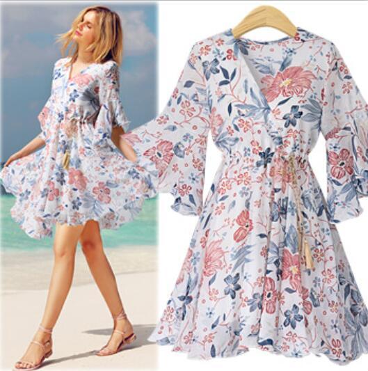 Женское мини платье в пляжном стиле Artfeel летнее бохо с цветочным принтом