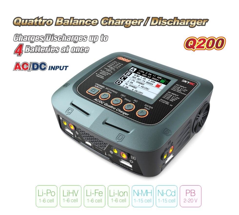 Cargador inteligente SKYRC Q200/descargador cargador de equilibrio de Drone CA/CC para Lipo/LiHV/Lithium-iron/Ion/NiMH/NiCD/batería de plomo-ácido