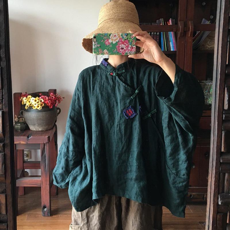 Johnature, camisas de manga murciélago para mujer, blusas Vintage de algodón y lino, novedad de Otoño de 2019, camisetas holgadas con botones de talla grande para mujer