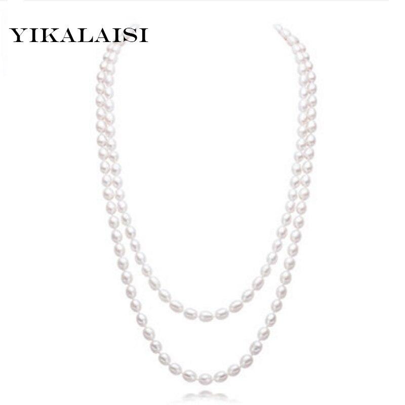 YIKALAISI длинное многослойное жемчужное ожерелье с натуральным пресноводного жемчуга, аксессуары, модные украшения для женщин