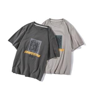Summer mens new loose casual print classic round neck wild cotton short sleeve men Camiseta Tshirt Homme