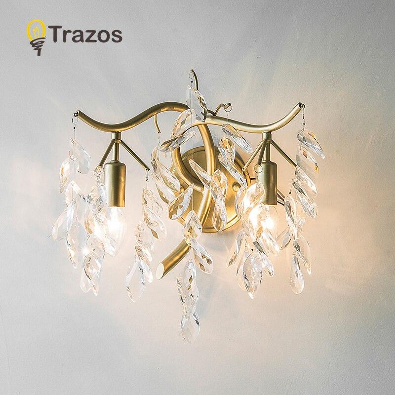 TRAZOS-مصباح حائط LED ذهبي ، مصباح حائط حديث ، إضاءة داخلية أوروبية وأمريكية ، مثالي لغرفة النوم أو المدخل ، 110 فولت ، 220 فولت
