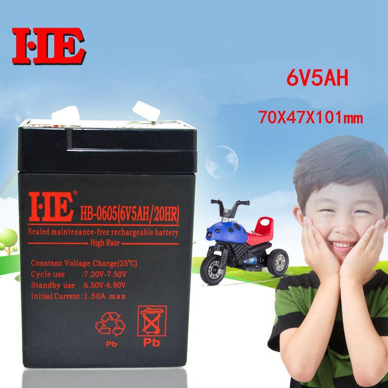 Аккумуляторная свинцово-кислотная батарея HE, 6 в, 5 А · ч, аккумулятор на солнечной батарее для электрического игрушечного автомобиля, фонари...