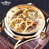 Winner Golden Luxury Open Work Design Brown Genuine Leather Men Watch Top Brand Luxury Automatic Mechanical Male Wristwatches
