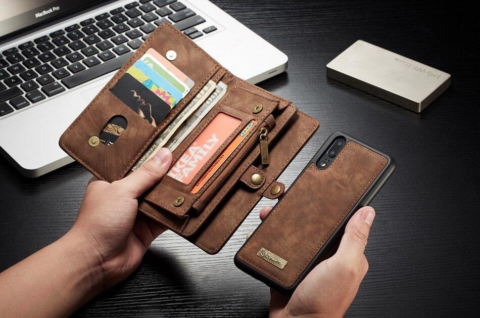 محفظة بسحاب مع غطاء خلفي قابل للإزالة ، حافظة جلدية لـ Huawei Mate 20 ، P20 ، P30 Pro ، P20 ، P30 Lite ، حقيبة خياطة يدوية ، 14 فتحة