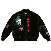 Kpop velours broderie rembourré à capuche manteau universitaire haut qualité noir veste Outwear