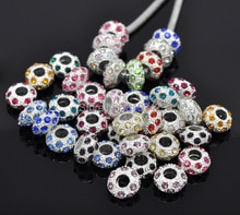 Free Shipping 100pcs Random Mixed Silver Plated Rhinestone Spacer Beads. Fits European Charm Bracelets 11x6mm