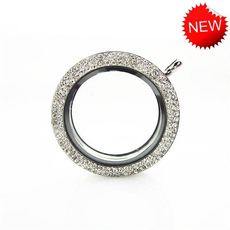 5 unids/lote 34mm plata Acero inoxidable completo Rhinestone flotante medallón colgante magnético de cristal medallones para mujeres collar joyería