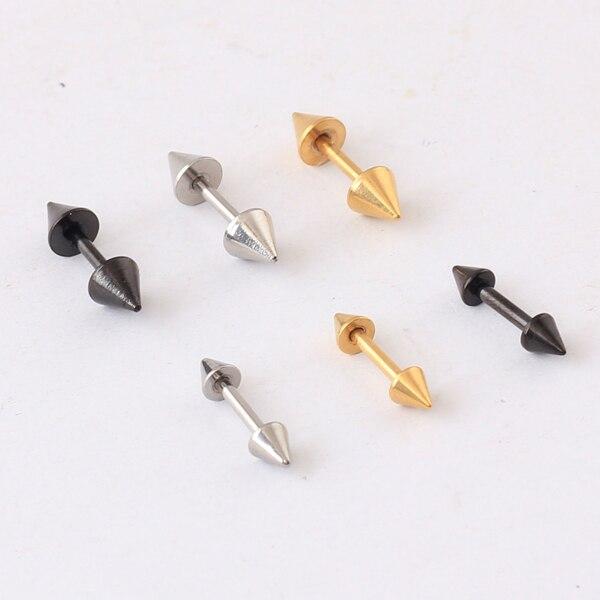 1 paar = 2 stück 3mm 4mm farbe schwarz gold Punk Rock Niet Spike Edelstahl Mens Womens stud Ohrringe unisex ohr stecker