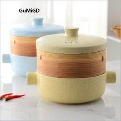 Cozinhar dual-purpose steamer steamer panela de sopa caçarola de cerâmica de calor do fogo-resistente panela de cerâmica dual-purpose cerâmica