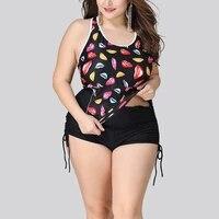 womens plus size swimwear conservative printed two pieces swimsuit bikini high waist bathing suits 5xl