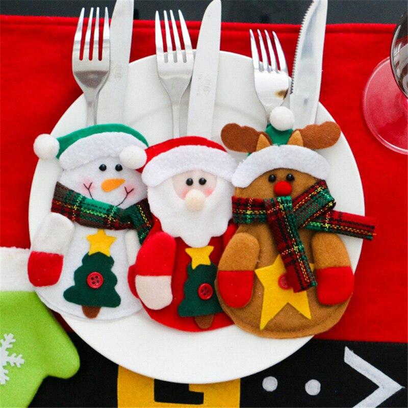 3 шт./лот, Рождественский Декор для дома, 2018, набор ножей для посуды, держатели для посуды, ножи, сумка для людей, декор для посуды со снеговико...