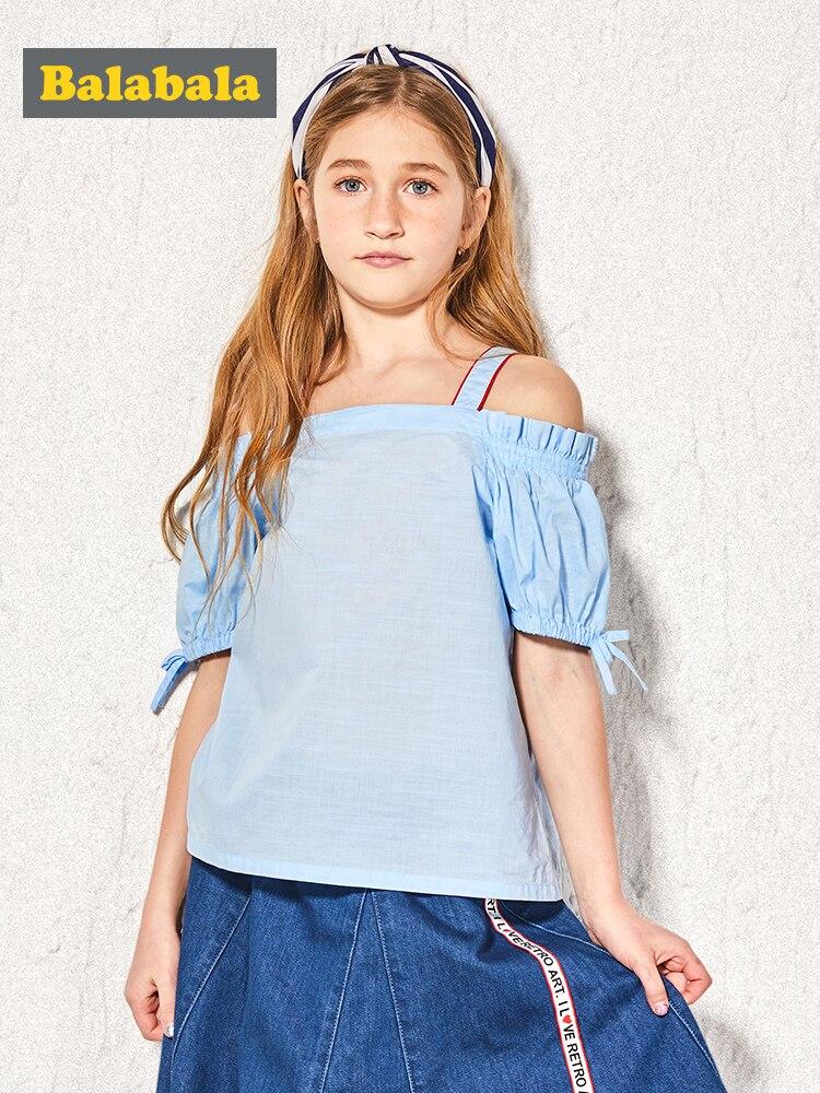 Balabala 2019 new Summer Clothes Toddler Kids Girls Short Sleeve Cotton Shirt Checks Solid Tops Blouse Clothes