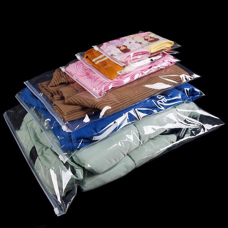 100 unids/lote muchos tamaños claro cerradura de cremallera bolsas de plástico para ropa camiseta de embalaje de prendas de vestir artículo bolsa de almacenamiento con ziplock bolsas