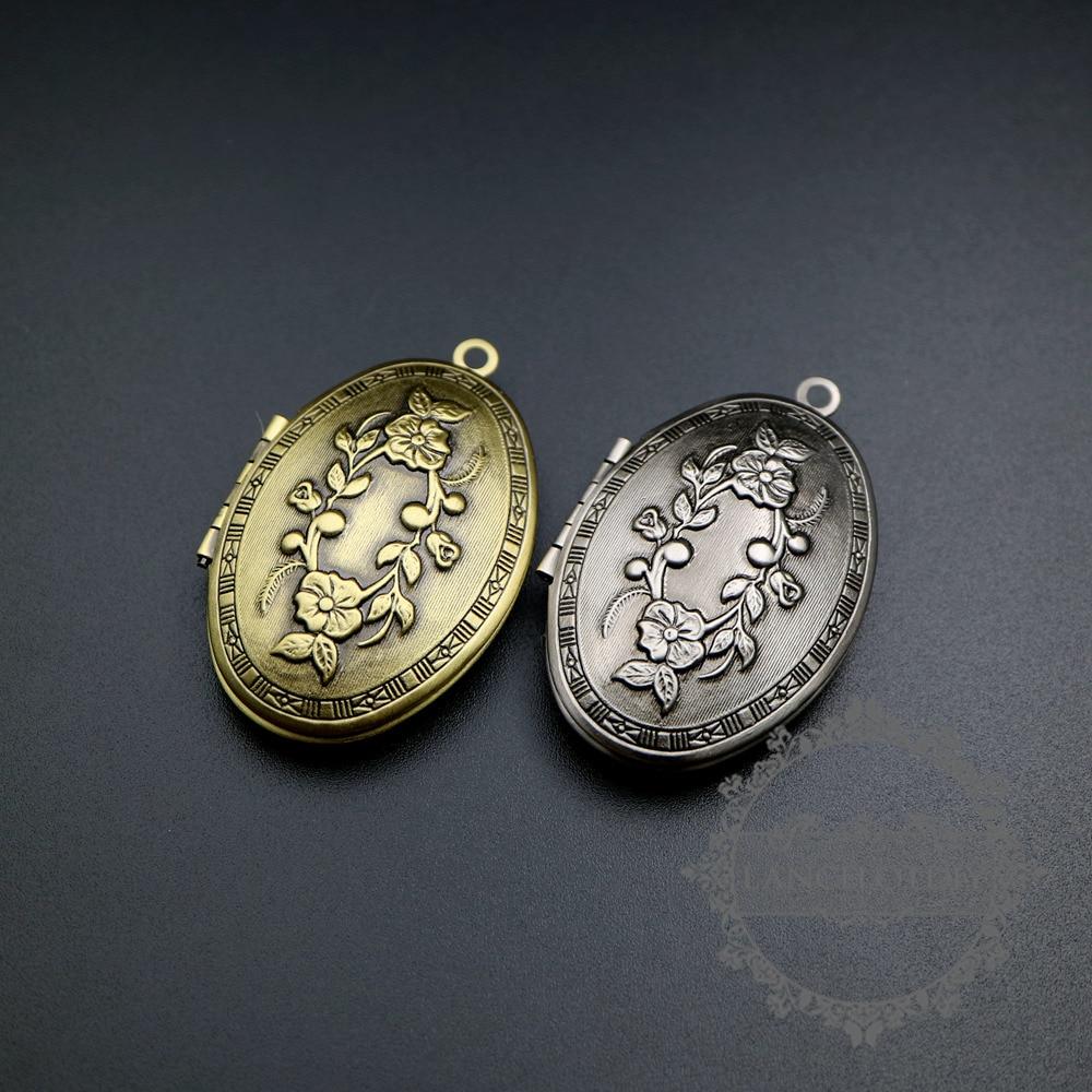 Colgante con flores grabadas Estilo vintage de 26x37mm, plata antigua, bronce, colgante con medallón para fotografía, suministros de joyería DIY 1121049