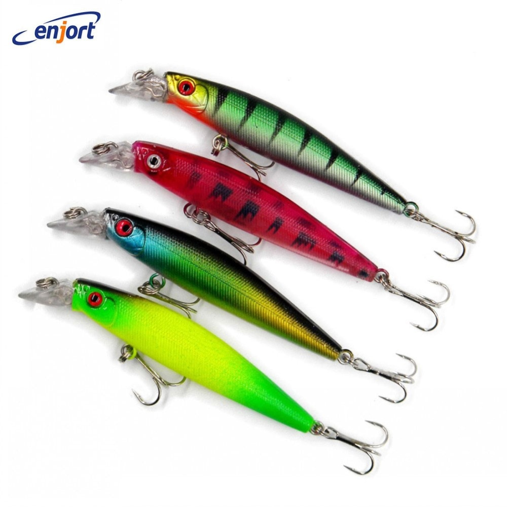 8 piunids/lote nuevos señuelos de pesca de Minnow 10.5CM-9.5G-4 # anzuelos señuelo de pez señuelo de cebo duro pesca wobbler isca artificial swimbait