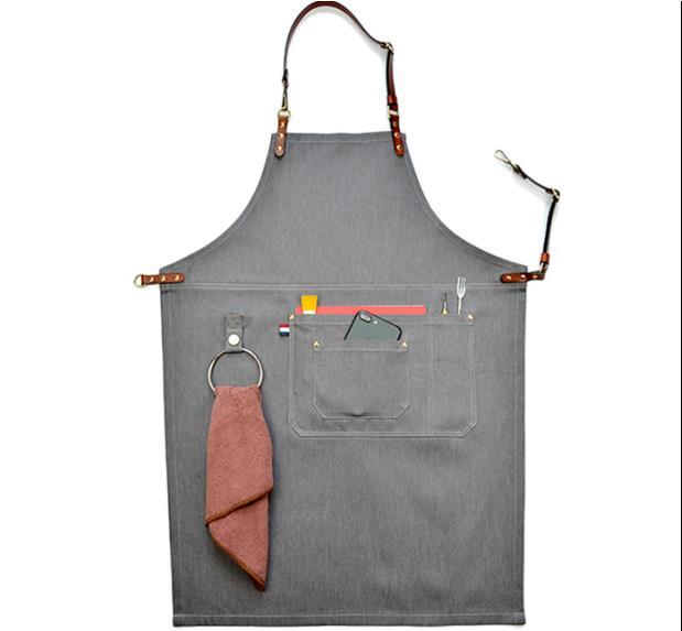 Luxury Gray Denim Apron Real Leather Strap Barber Florist Bartender Apron Chef Uniform Tattoo Shop Carpenter Salon Workwear S67