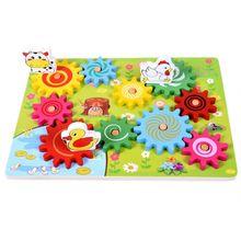 En bois Animal Gear jeu combinaison rotation roue dentée enfants jouets éducatifs main-oeil Interaction enfants amusant Puzzle jouet