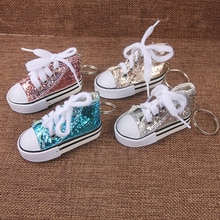 SUKI mignon Tenis chaussures porte-clés breloque pour sac scintillant paillettes porte-clés cadeau sport Mini Sneaker porte-clés cadeaux drôles