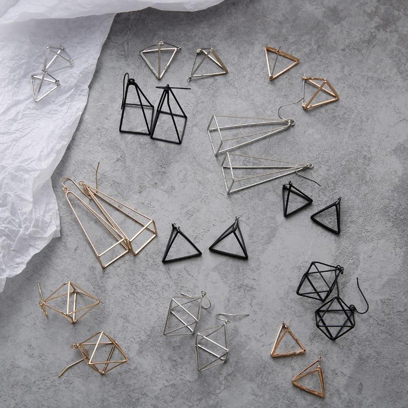 Brincos europa e américa minimalistas punk, conjunto para mulheres, triângulo 3d geométrico, vazado, polígono, joias de festa, jh