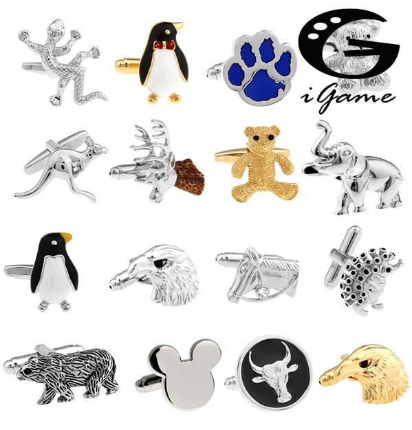 Запонки для мужчин, запонки в виде животных, животных, медведей, слонов, пингвинов, кенгуру, орла, опт и розница, бесплатная доставка