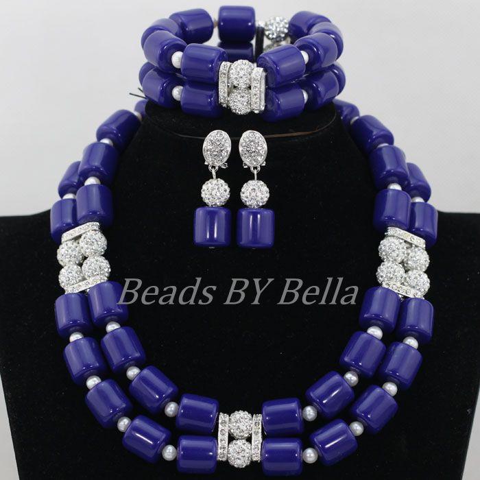 Azul Real Artificial cuentas de coral nigeriano boda joyería nupcial conjuntos africanos perlas collar de la joyería conjunto envío gratis ABF900