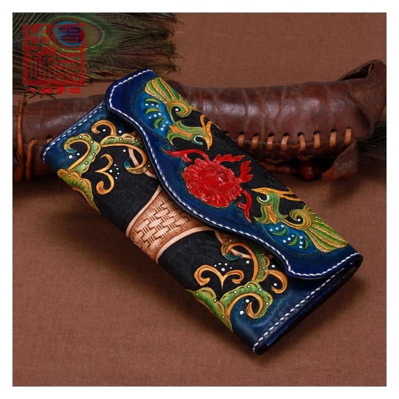 Cartera de cuero hecho a mano tallada con flores de Fénix para mujer Cartera de cuero genuino triple doble personalidad de gran capacidad para hombre