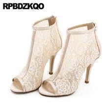 Weiß Hochzeit Stiefel Ankle Mesh Sommer Booties Braut Sandalen Peep Toe Stiletto Spitze Hohe Ferse Extreme Frauen Marke Schuhe Große größe