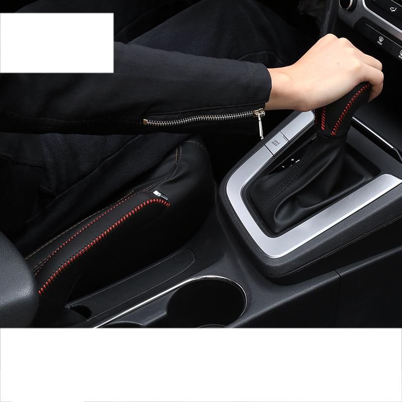 lsrtw2017 leather car gear lever cover handbrake cover for hyundai elantra 2016 2017 2018 2020