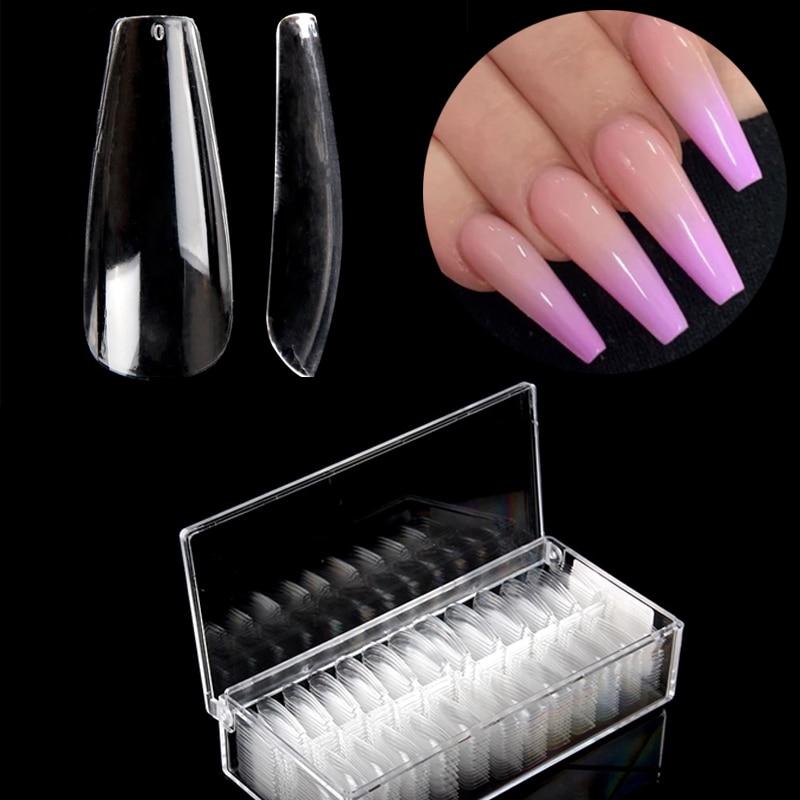 520 unids/caja puntas de bailarina uñas postizas cubierta completa uñas falsas largo ataúd Natural claro