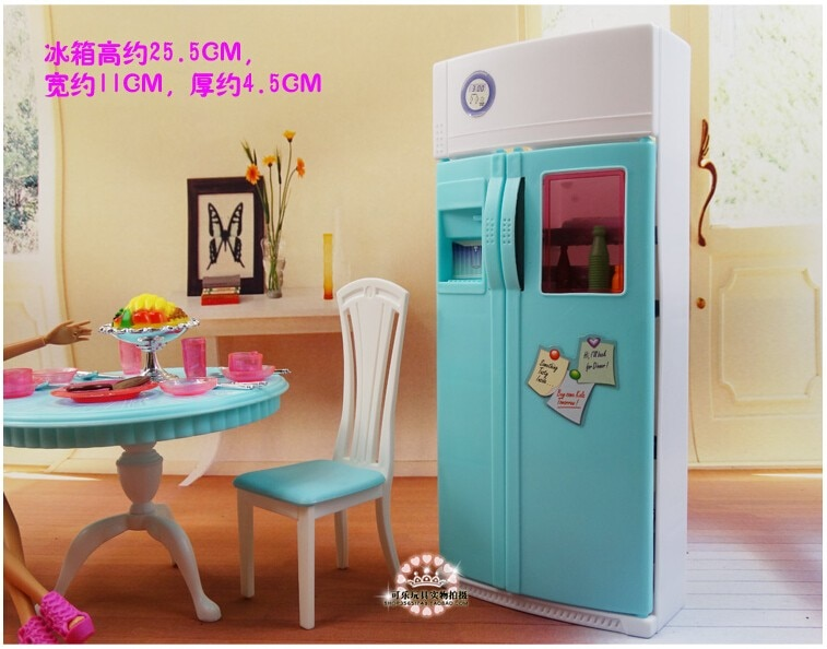 for barbie princess kitchen furniture 1/6 bjd doll restaurant tableware table chair refrigerator dining room toy accessories