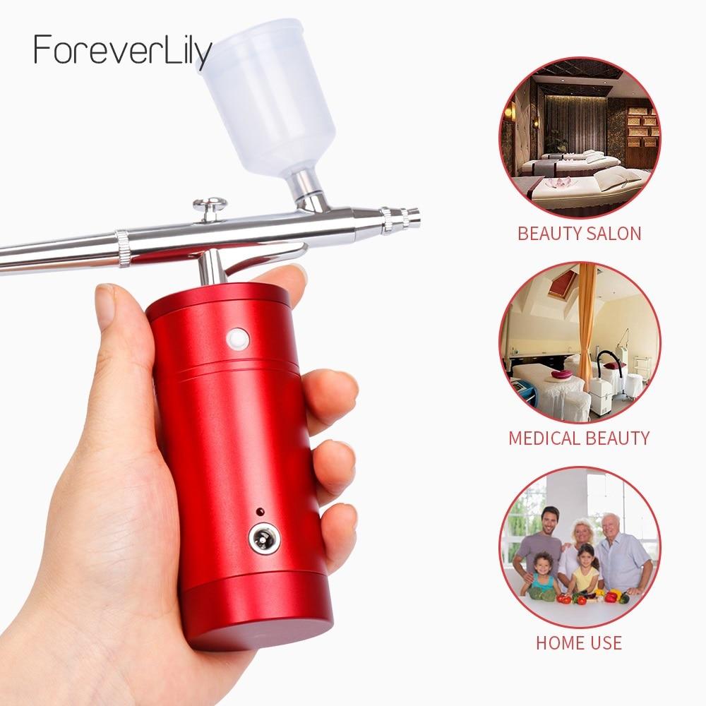 Mini Airbrush Kit Compressor Portable Air Brush Paint Spray Gun For Nail Art Desgin Tattoo Cake Oxygen Nano Fog Mist Sprayer