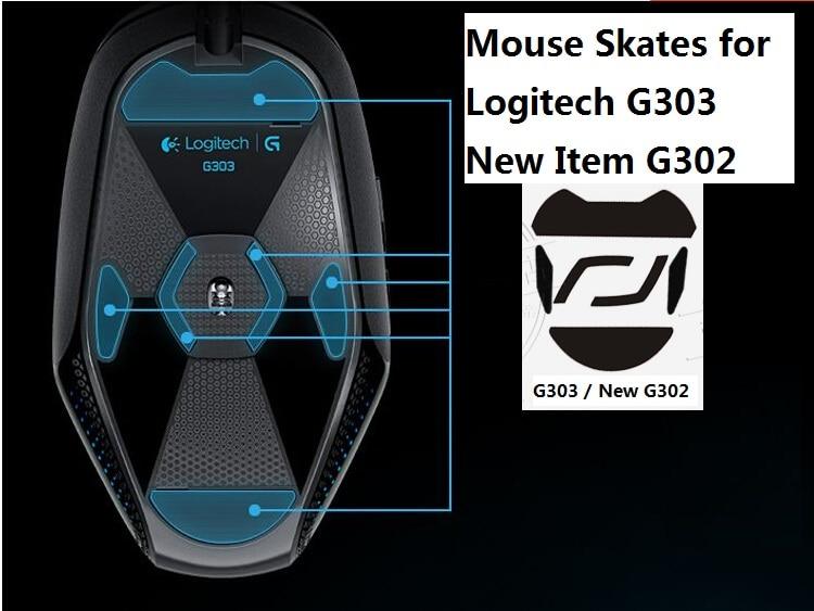 Patines de ratón de teflón 3 M/pies de ratón para Logitech G302 G303 nuevo G302 de alta calidad