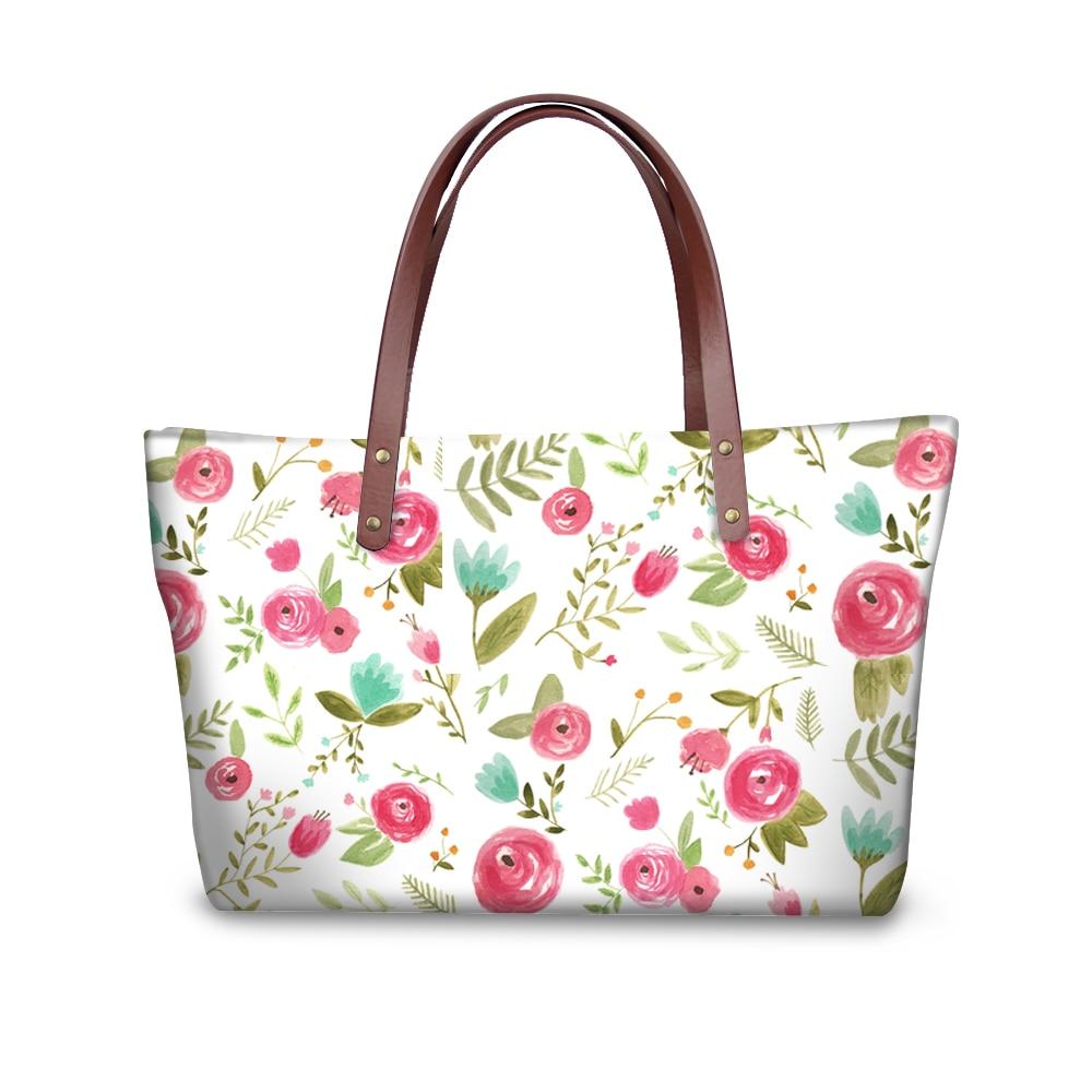 Elviswords feliz teste padrão floral luxo bolsa faculdade sacos de ombro para meninas grandes totes com plutônio bolsa moda carteira 2018