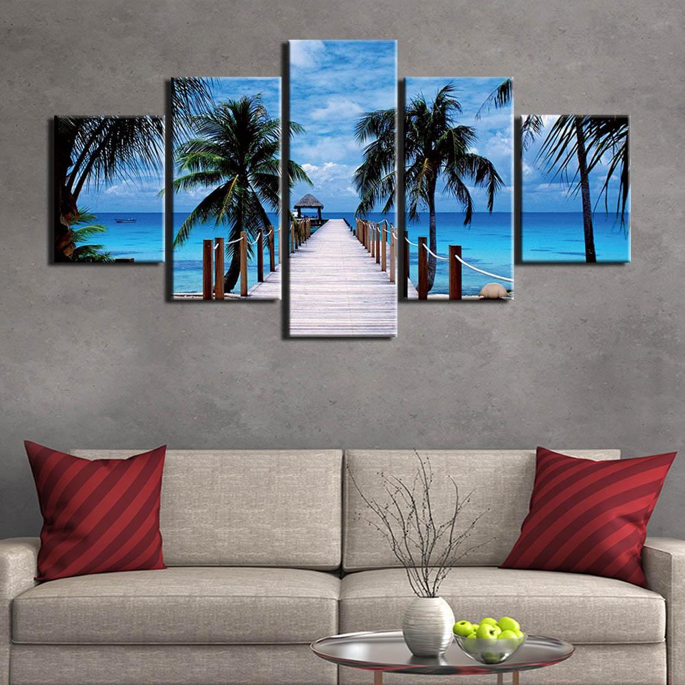 Secenery Pintura Da Lona Arte da parede Painel Modular Fotos 5 Bali Parque Paisagem Poster Home Decor Prints HD Quadro